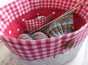 Red sheep & gingham yarn bowl inside view with grey knitting project 2 (1)